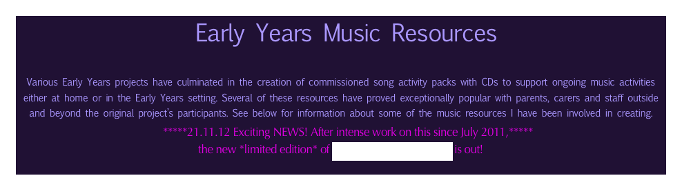 Early Years Music Resources